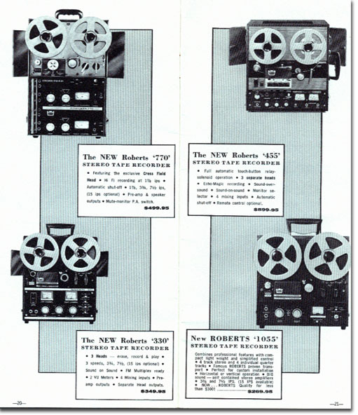 1961 ad for Roberts Recorder. Califone and Rheem  reel to reel tape recorders in the Reel2ReelTexas.com & Museum of Magnetic Sound Recording vintage recording collection