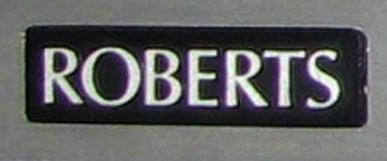 "Simple word ""Roberts""  logo on reel tape recorder in Phantom productions vintage tape recorder collection"