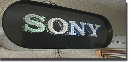 Sony store sign in the Reel2ReelTexas.com reel to reel tape recorder vintage recording collection