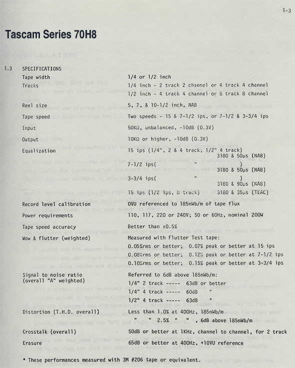 Specifications for the Teac Series 70H8 8 track reel to reel tape recorder in the Reel2ReelTexas.com vintage recording collection