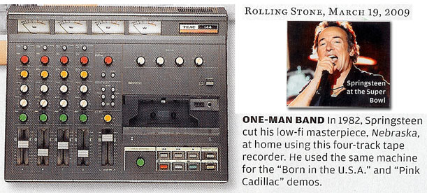 2009 Roling Stone mention of Bruce Springsteen and the Teac 144 Portastidio cassette recorder in the Reel2ReelTexas.com vintage recording collection