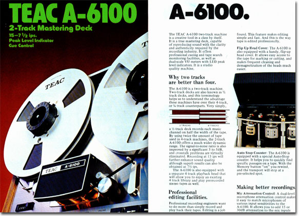 Teac 6100 reel to reel tape recorder ad in the Reel2ReelTexas.com vintage recording collection