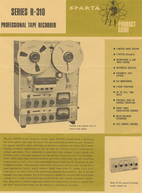 Sparta Radio equipment catalog of  Teac's R 310 reel to reel recorder brochure in the Reel2ReelTexas.com vintage recording collection