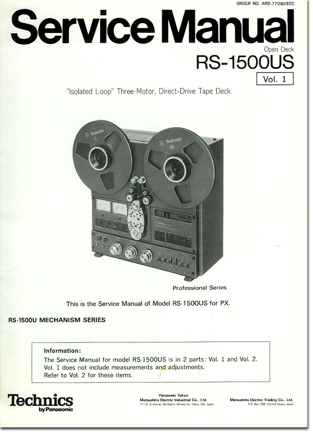Technics RS-1500 Service Manual cover in the Reel2ReelTexas.com vintage reel tape recorder recording collection